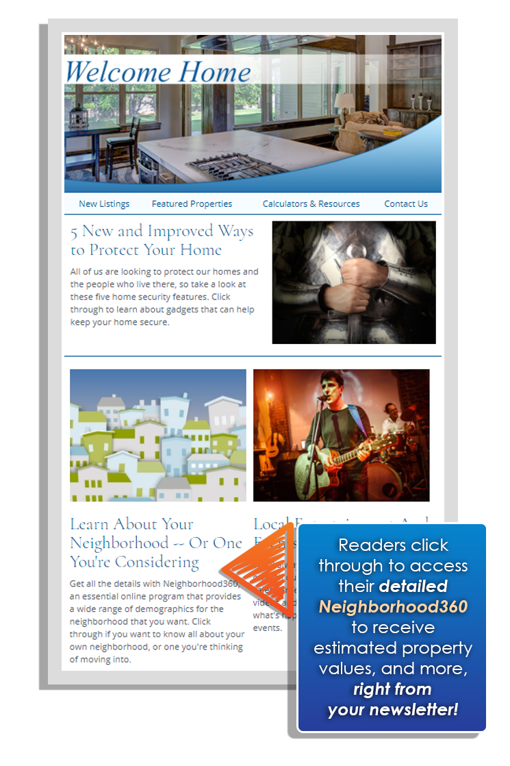 Real estate newsletter example with Neighborhood360 feature