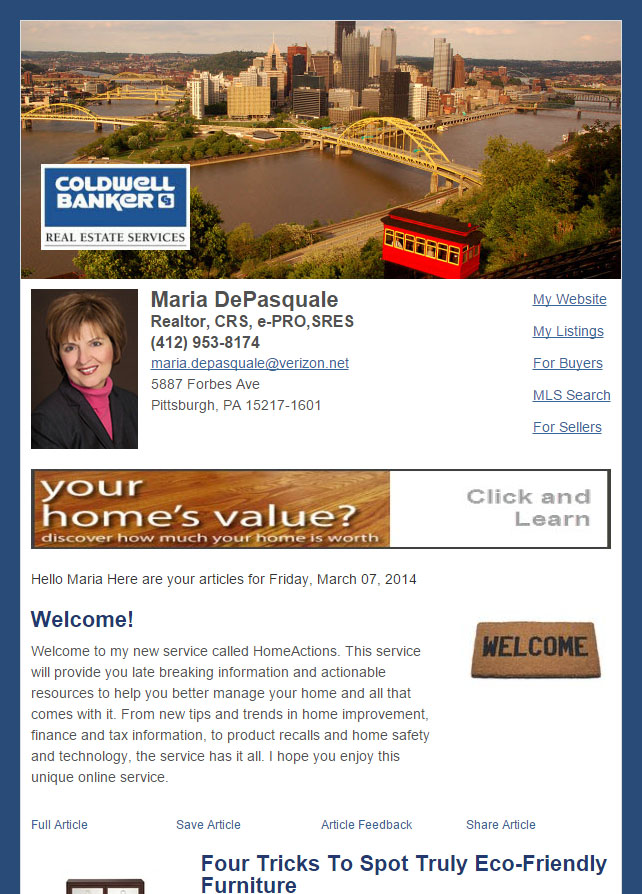 Real Estate Marketing Newsletter Example From An Agent At Coldwell Banker Real Estate Services