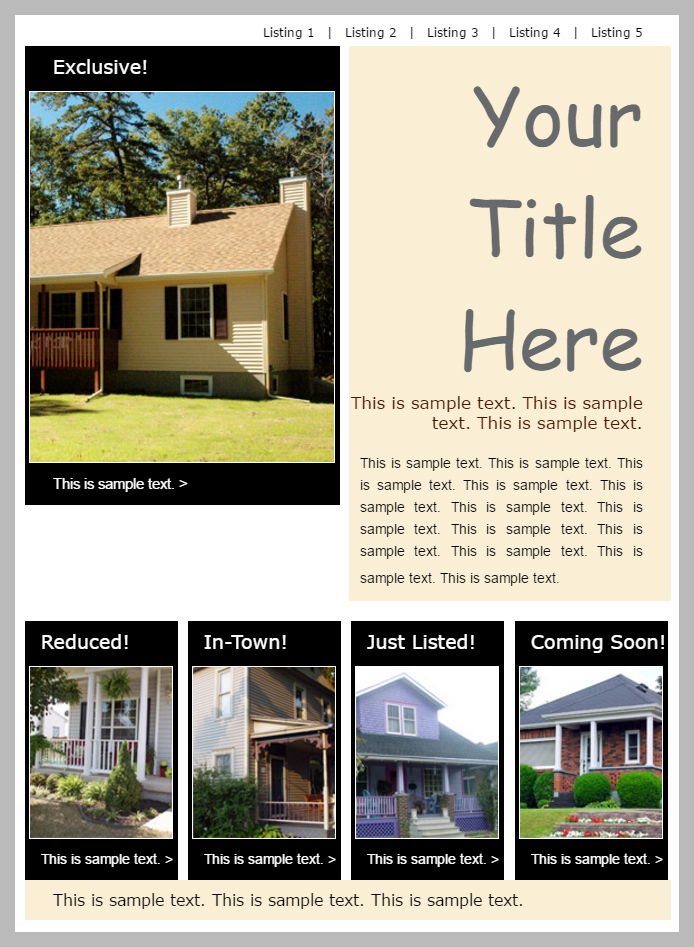 Reduced, In-town, just listed, exclusive and coming soon featured properties real estate newsletter template