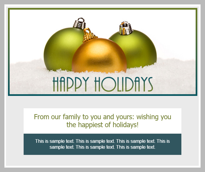 Real Estate Marketing Holiday Email Blast Example 4: Happy Holidays