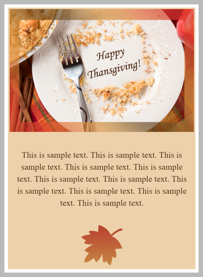 Thanksgiving Greeting Email Template Example