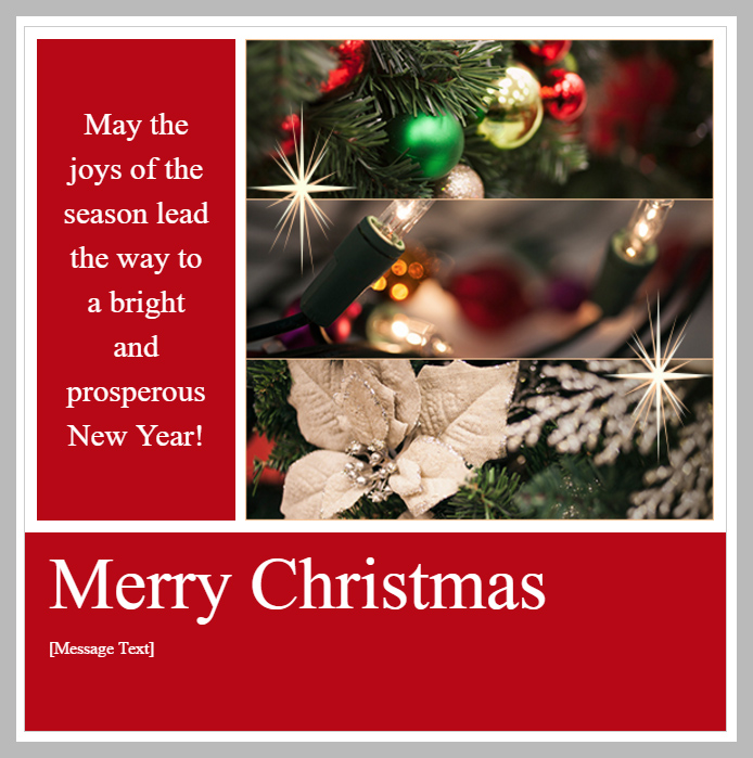 Professional Christmas Holiday Season Email Greeting Message Template Example