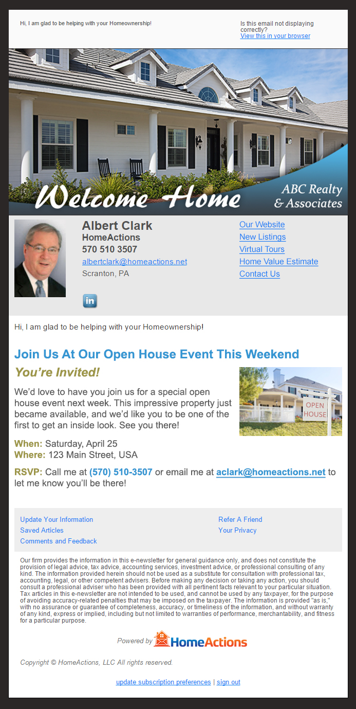 HomeActions OnTarget Open House Email Blast Example