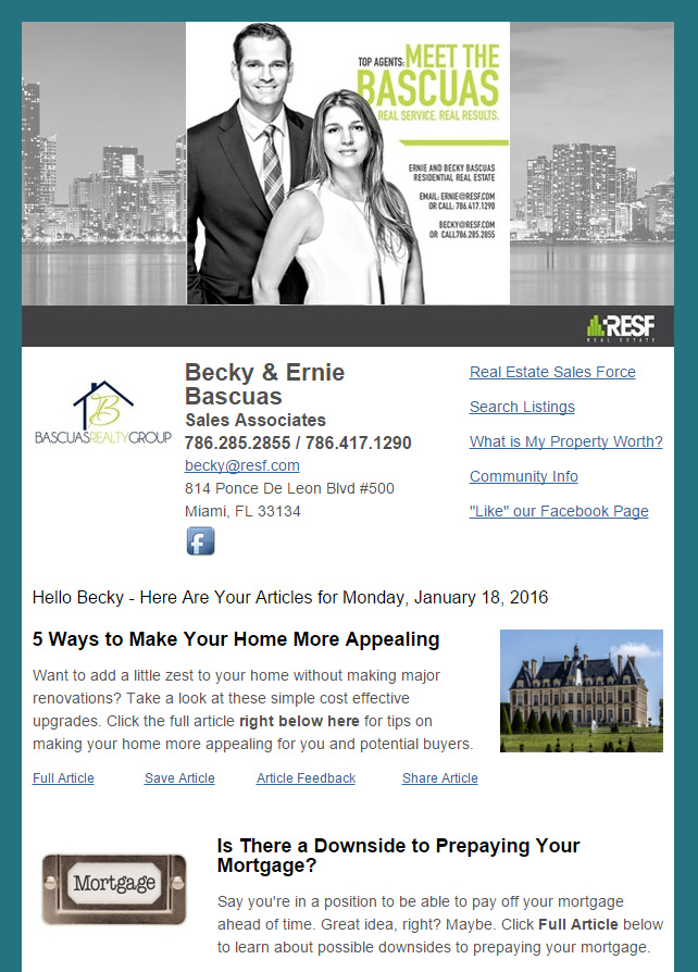 Real Estate Marketing Newsletter Example From Agents At RESF Basucas Realty Group