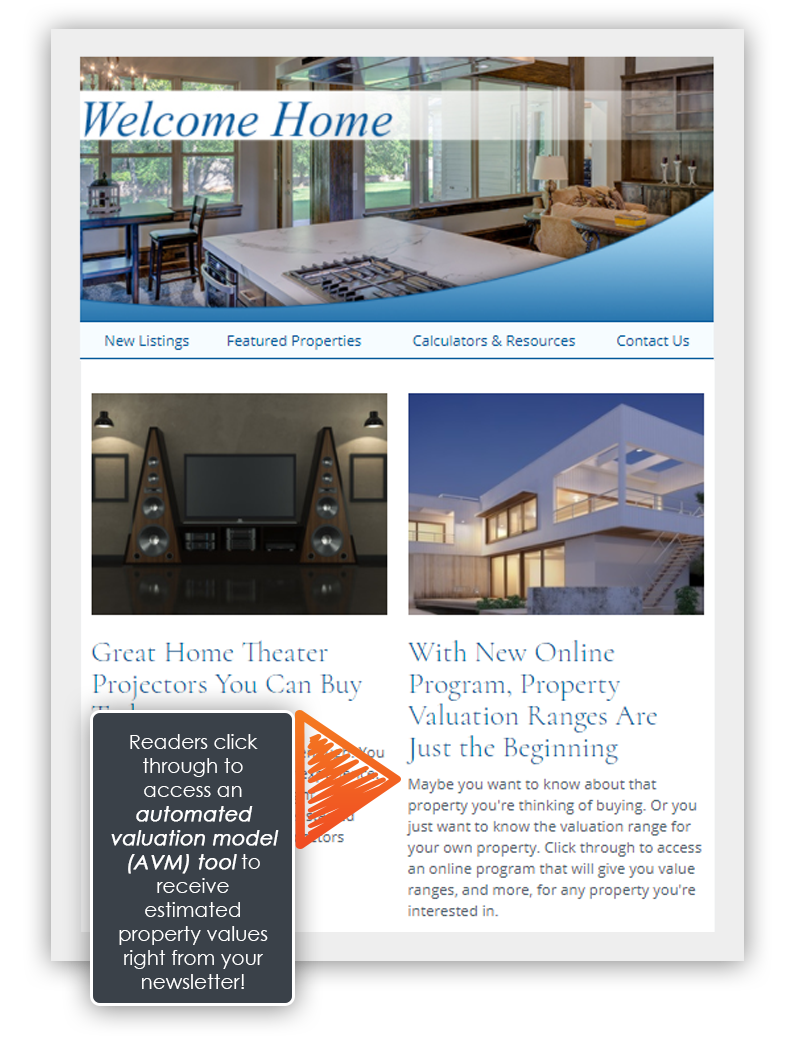 HomeActions AVM tool email newsletter intro view