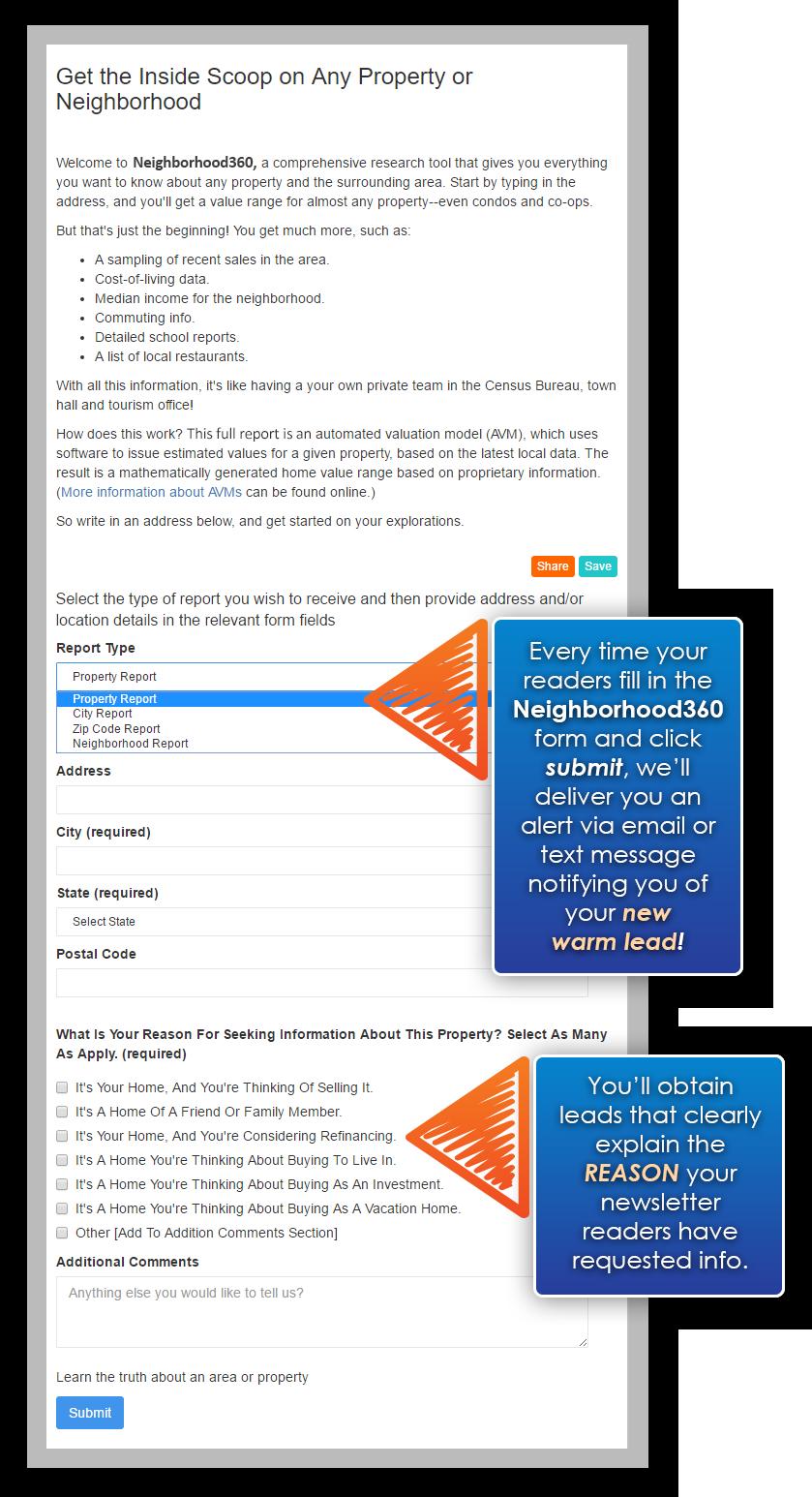 Neighborhood360 Newsletter Landing Page Example