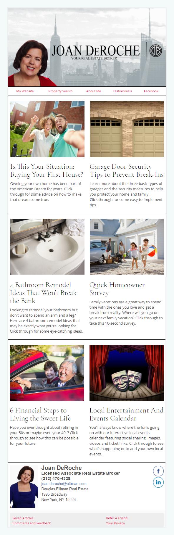 Joan DeRoache With Douglas Elliman Real Estate - HomeActions Sample Email Newsletter