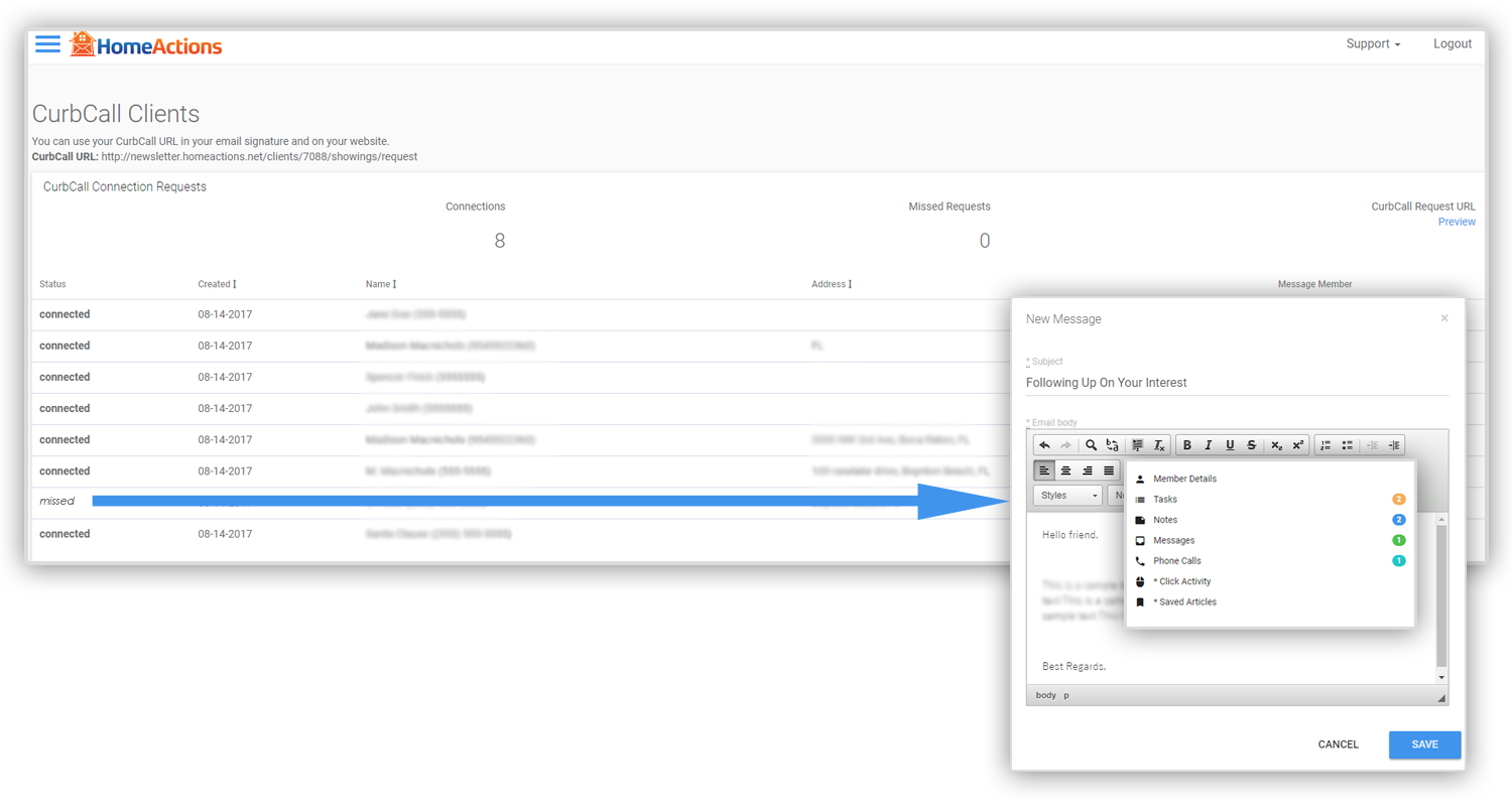 CurbCall HomeActions Integration With Detailed Reporting And Follow Up CRM Tools