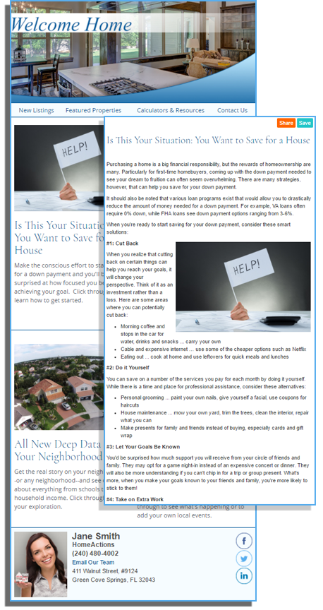 HomeActions Real Estate Email Newsletter Lead Trigger Article Sample