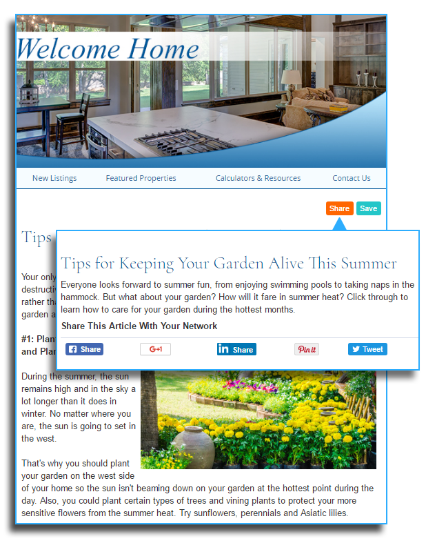 HomeActions Integrated Social Media Sharing Tools For Your Real Estate Newsletter