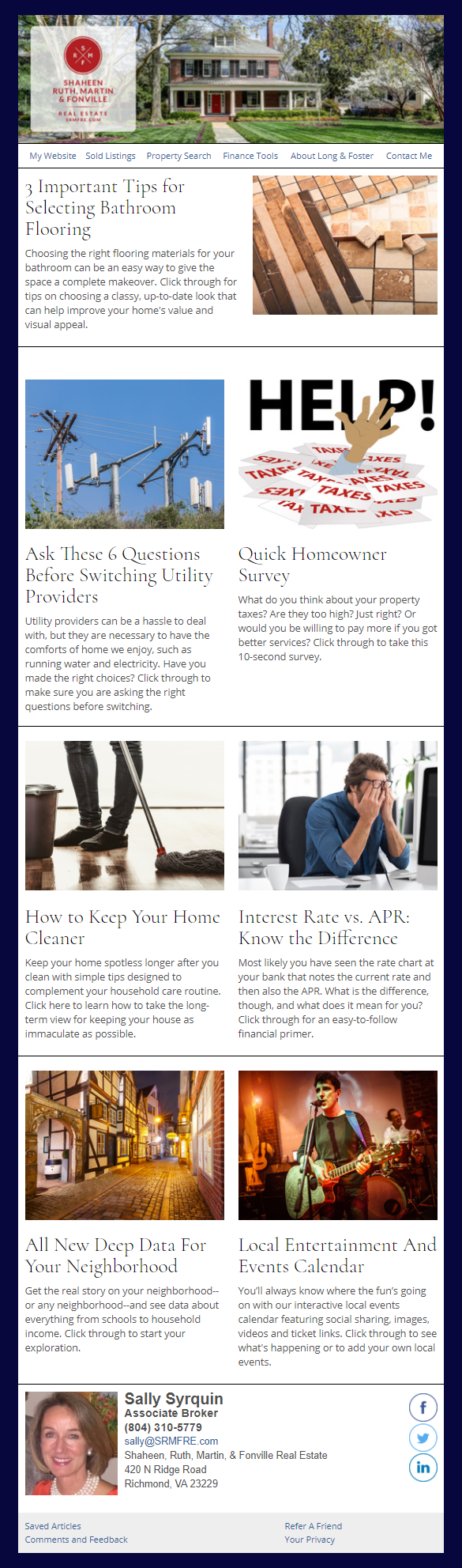 Long & Foster - HomeActions Sample Email Newsletter