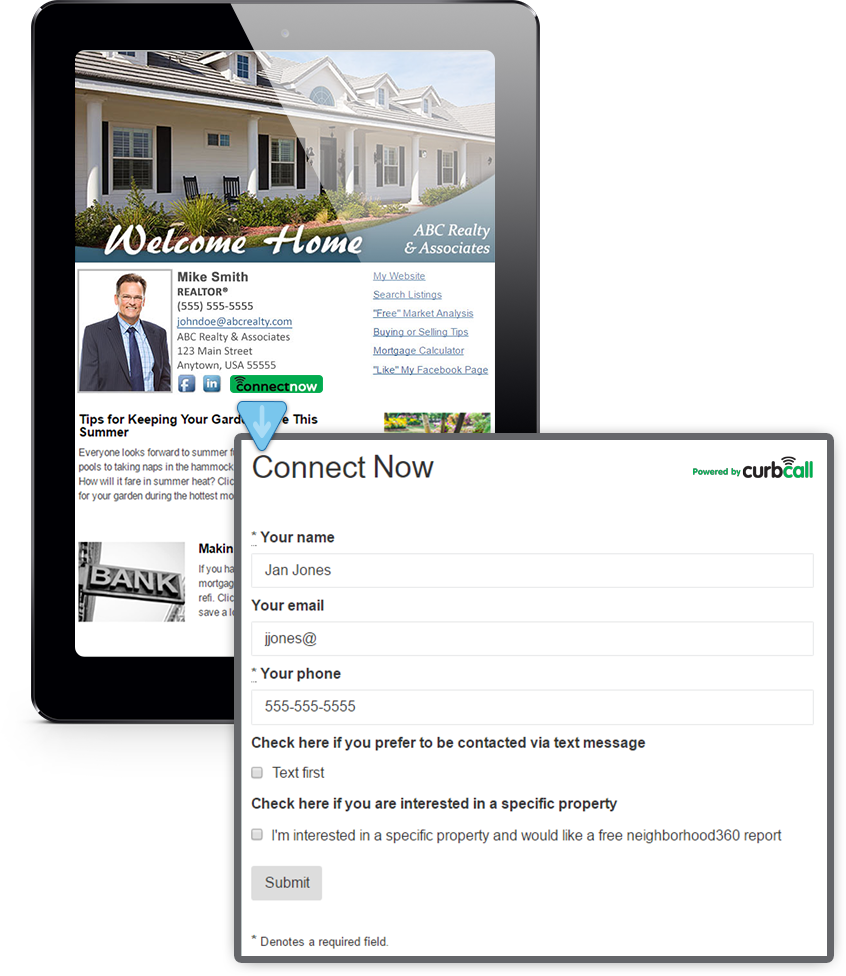Example Of CurbCall's Integration With HomeActions Real Estate Newsletters