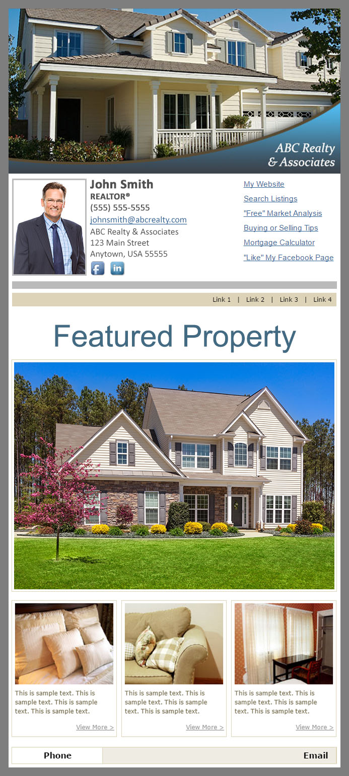 HomeActions OnTarget Real Estate Email Single Message Example Using a Featured Listings Template