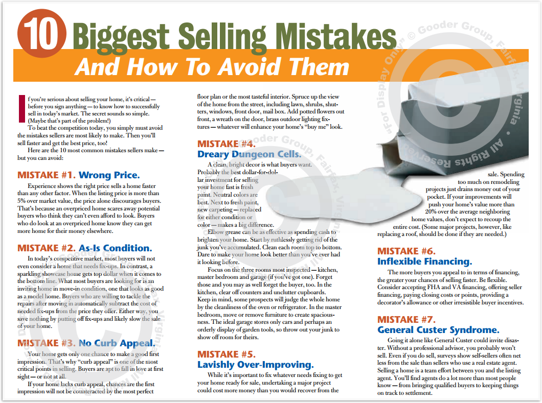 10 Biggest Selling Mistakes And How To Avoid Them Print Real Estate Brochure HomeActions Brochure Preview