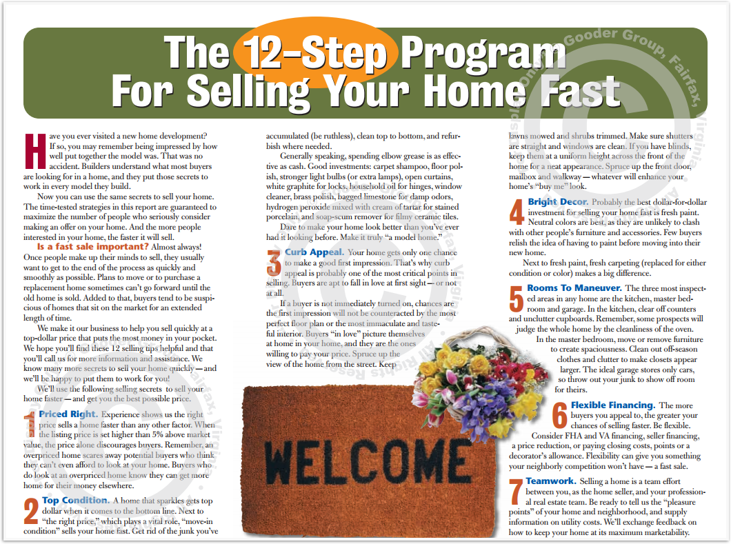 The 12-Step Program For Selling Your Home Fast Print Real Estate Brochure HomeActions Brochure Preview