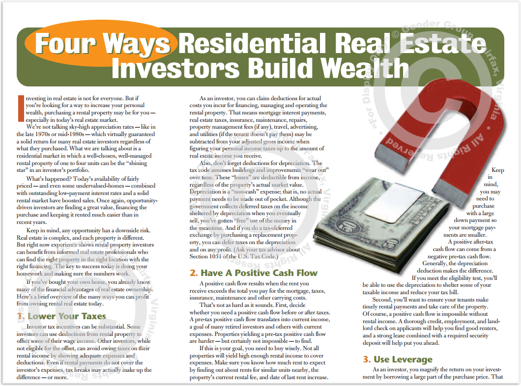 Four Ways Residential Real Estate Investors Build Wealth Print Real Estate Brochure HomeActions Brochure Preview