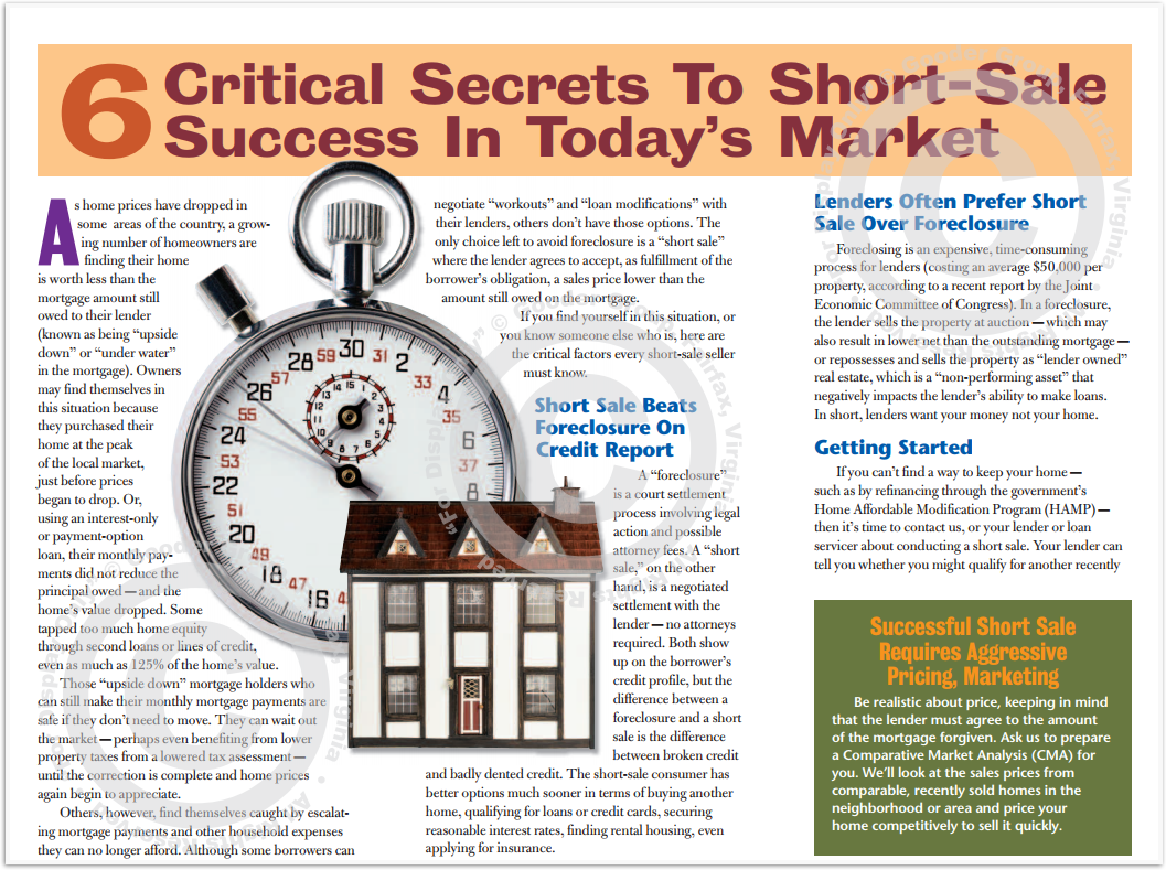 6 Critical Secrets To Short-Sale Success In Today's Market Print Real Estate Brochure HomeActions Brochure Preview