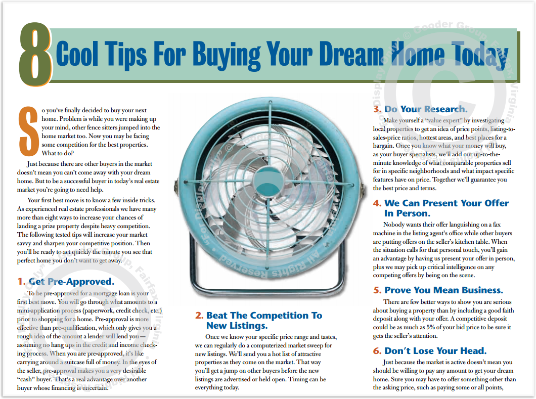 8 Cool Tips For Buying Your Dream Home Today Print Real Estate Brochure HomeActions Brochure Preview