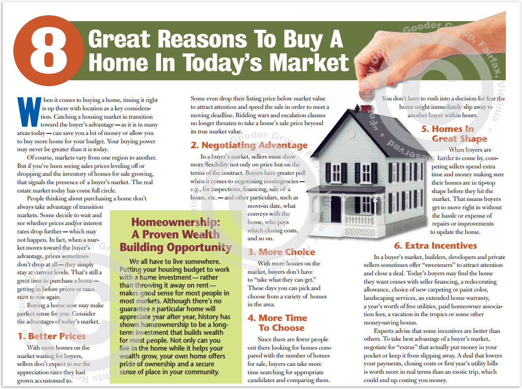 8 Great Reasons To Buy A Home In Today's Market Print Real Estate Brochure HomeActions Brochure Preview