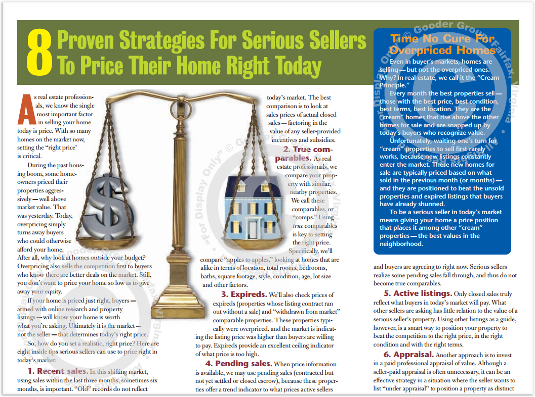 8 Proven Strategies For Serious Sellers To Price Their Home Right Today Print Real Estate Brochure HomeActions Brochure Preview