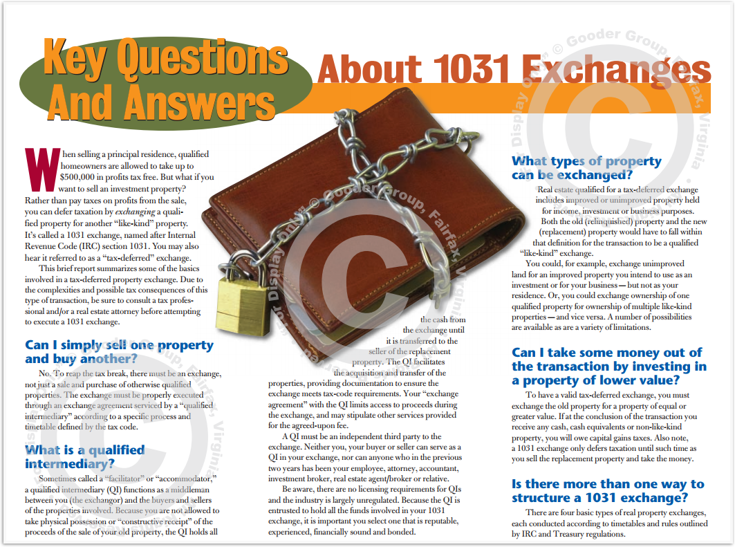 About 1031 Exchange Print Real Estate Brochure HomeActions Brochure Preview