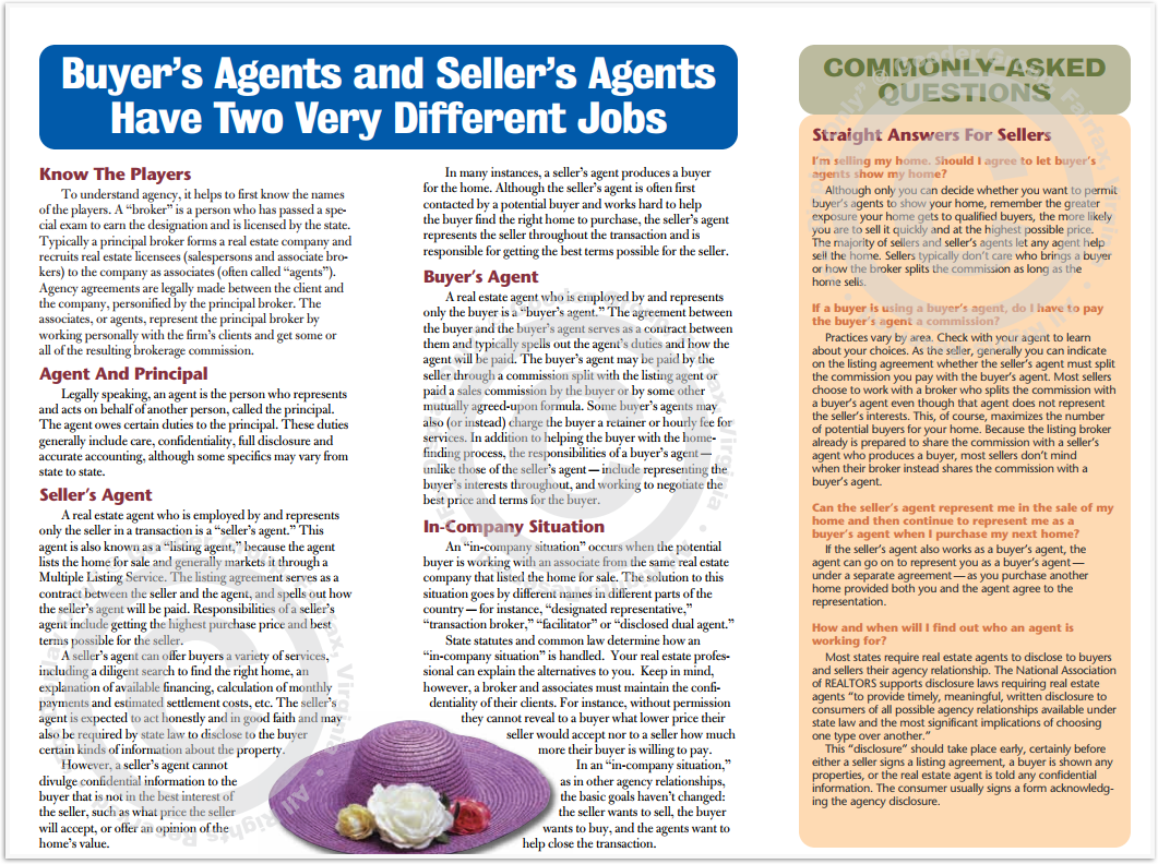 Buyers Agents and Sellers Agents Have Two Very Different Jobs Print Real Estate Brochure HomeActions Brochure Preview