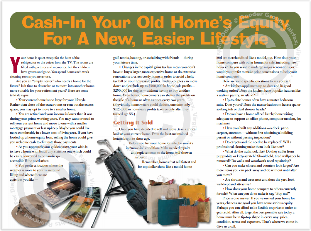 Cash-In Your Old Home's Equity For A New, Easier Lifestyle Print Real Estate Brochure HomeActions Brochure Preview