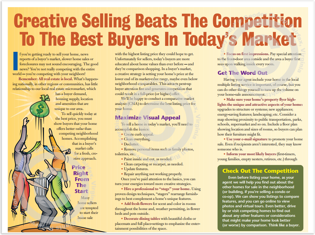 Creative Selling Beats The Competition To The Best Buyers In Today's Market Print Real Estate Brochure HomeActions Brochure Preview
