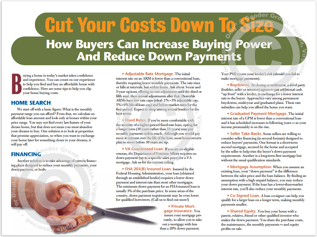 Cut Your Costs Down To Size Print Real Estate Brochure HomeActions Brochure Preview