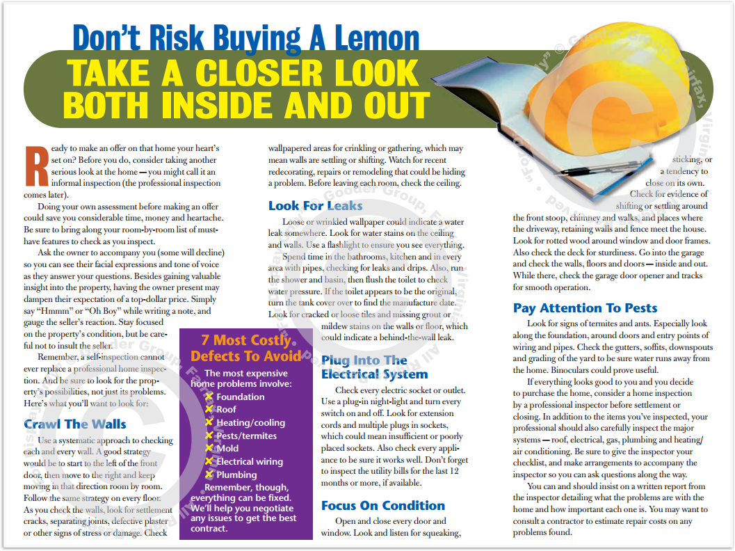 Don't Risk Buying A Lemon - Take A Closer Look Both Inside And Out Print Real Estate Brochure HomeActions Brochure Preview