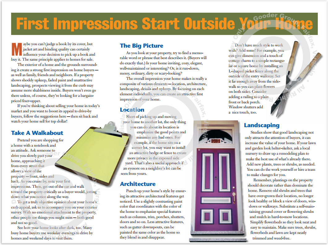 First Impressions Start Outside Your Home Print Real Estate Brochure HomeActions Brochure Preview