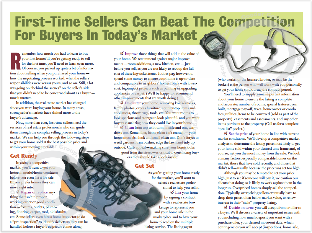 First-Time Sellers Can Beat The Competition For Buyers In Today's Market Print Real Estate Brochure HomeActions Brochure Preview