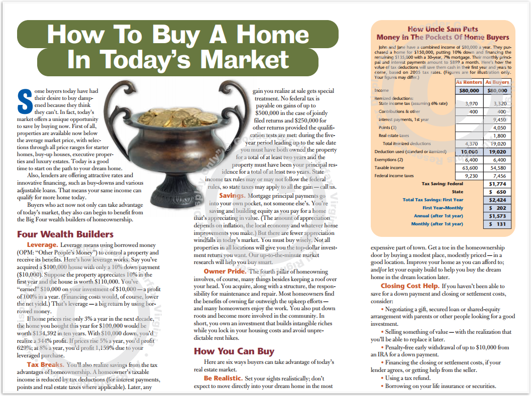 How To Buy A Home In Today's Market Print Real Estate Brochure HomeActions Brochure Preview