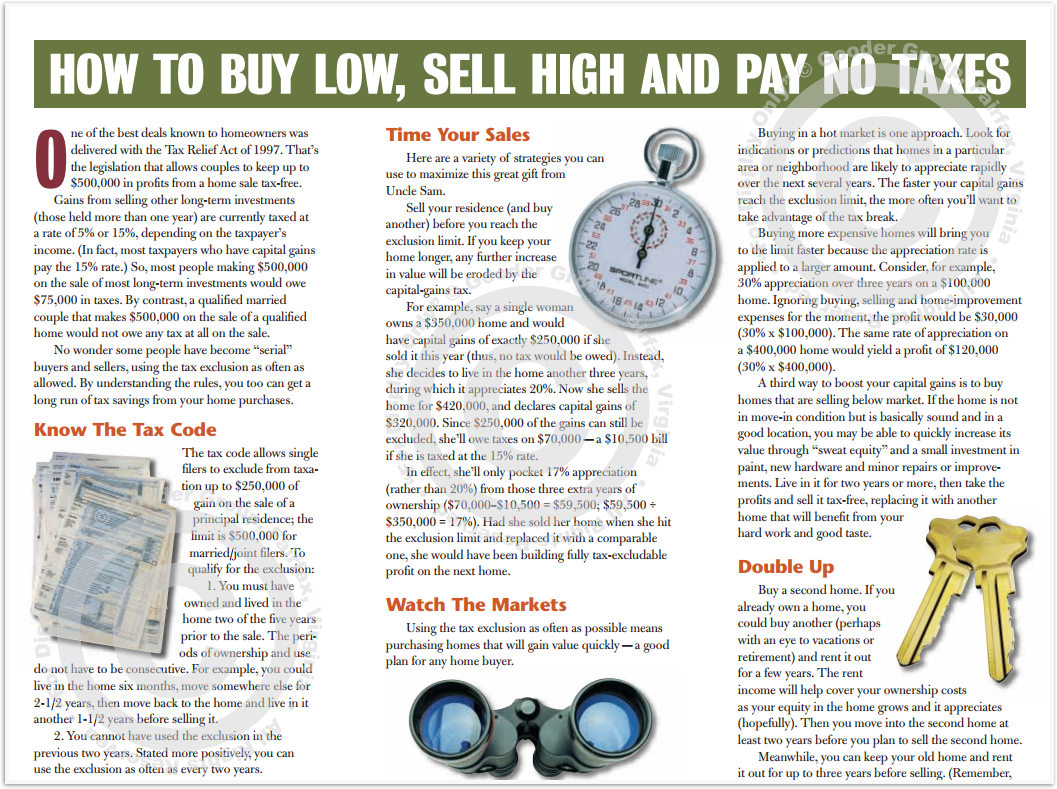How To Buy Low, Sell High And Pay No Taxes Print Real Estate Brochure HomeActions Brochure Preview