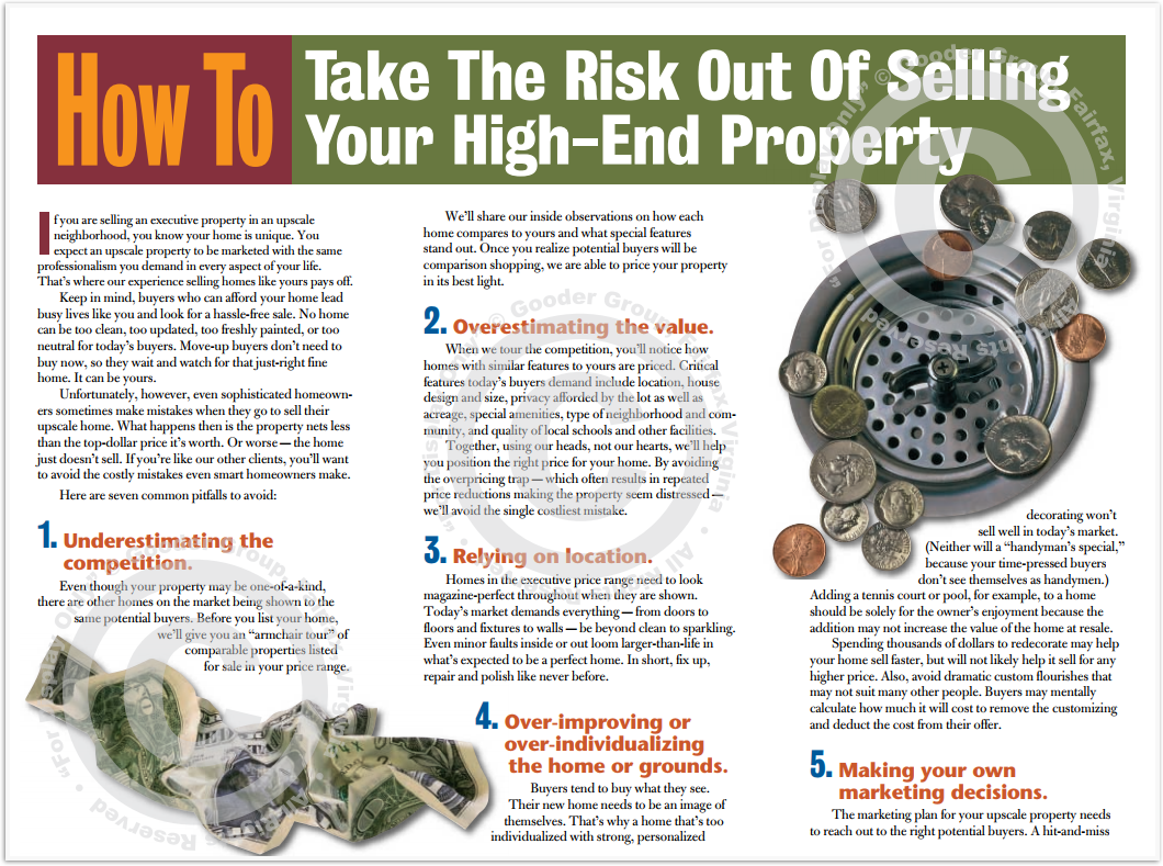 How To Take The Risk Out Of Selling Your High-End Property Print Real Estate Brochure HomeActions Brochure Preview