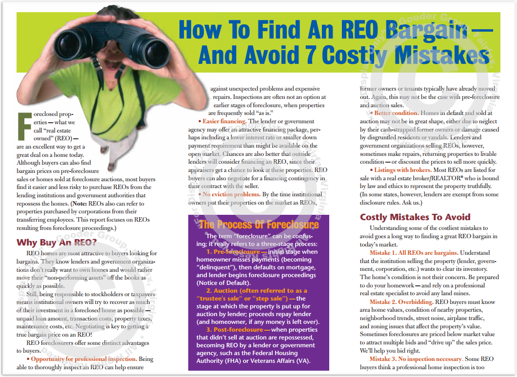 How To Find An REO Bargain - And Avoid 7 Costly Mistakes Print Real Estate Brochure HomeActions Brochure Preview