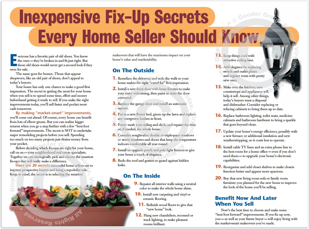 Inexpensive Fix-Up Secrets Every Home Seller Should Know Print Real Estate Brochure HomeActions Brochure Preview