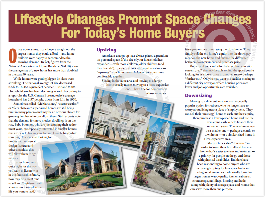 Lifestyle Changes Prompt Space Changes For Today's Home Buyers Print Real Estate Brochure HomeActions Brochure Preview