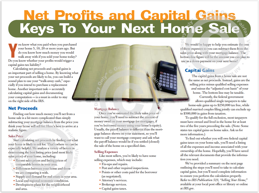 Net Profits And Capital Gains Keys To Your Next Home Sale Print Real Estate Brochure HomeActions Brochure Preview