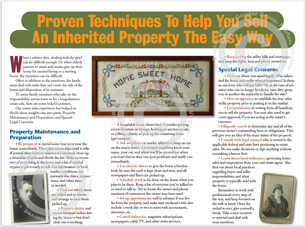 Proven Techniques To Help You Sell An Inherited Property The Easy Way Print Real Estate Brochure HomeActions Brochure Preview