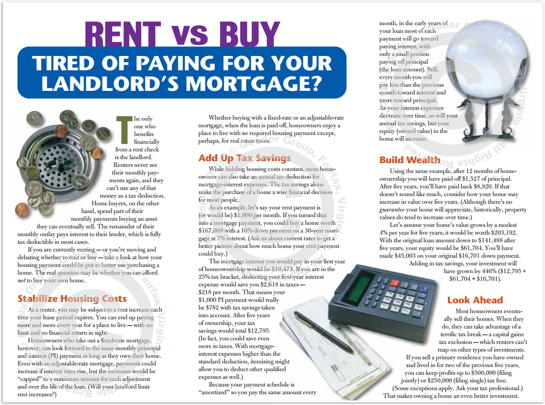 Rent Vs Buy - Tired Of Paying For Your Landlord's Mortgage Print Real Estate Brochure HomeActions Brochure Preview