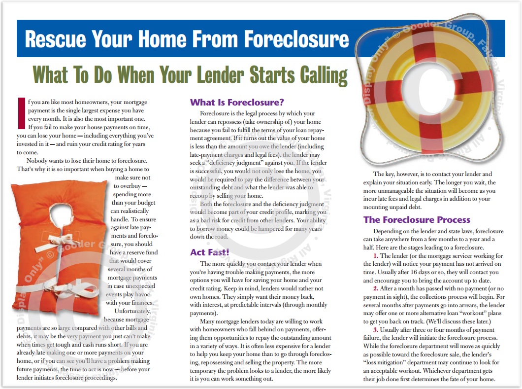 Rescue Your Home From Foreclosure Print Real Estate Brochure HomeActions Brochure Preview