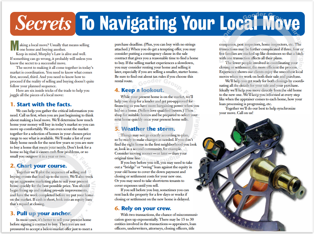 Secrets To Navigating Your Local Move Print Real Estate Brochure HomeActions Brochure Preview