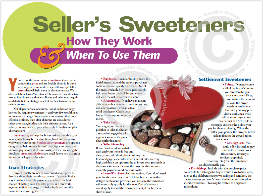 Seller's Sweeteners - How They Work & When To Use Them Print Real Estate Brochure HomeActions Brochure Preview