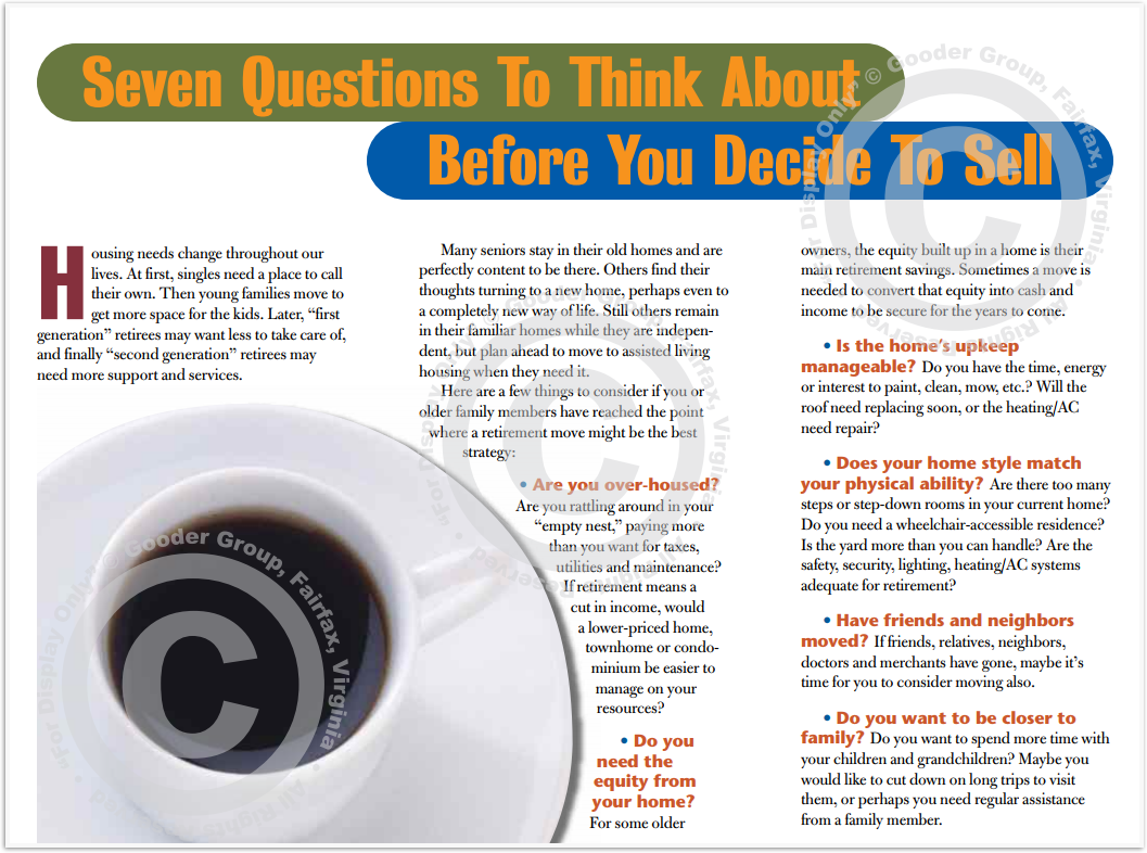 Seven Questions To Think About Before You Decide To Sell Print Real Estate Brochure HomeActions Brochure Preview