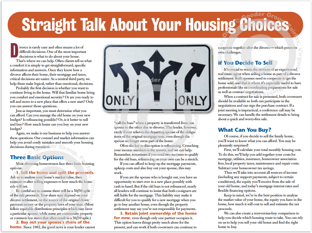 Straight Talk About Your Housing Choices Divorce Print Real Estate Brochure HomeActions Brochure Preview