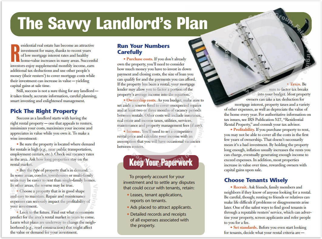 The Savvy Landlord's Plan Print Real Estate Brochure HomeActions Brochure Preview