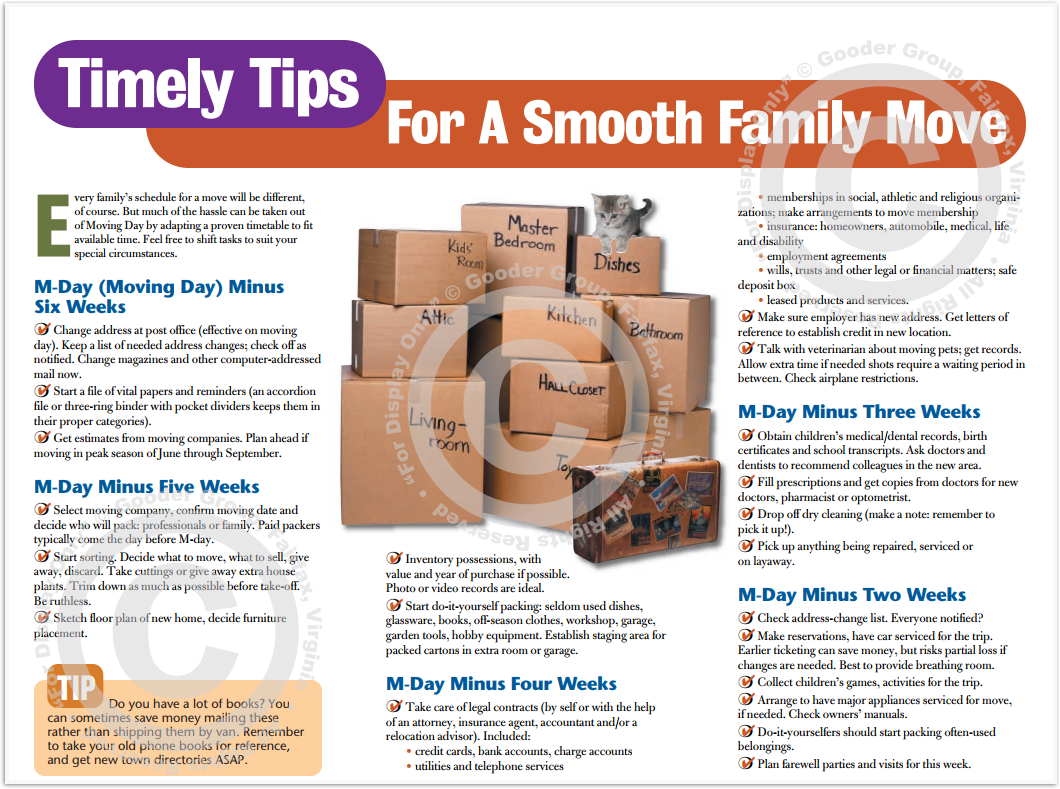 Timely Tips For A Smooth Family Move Print Real Estate Brochure HomeActions Brochure Preview