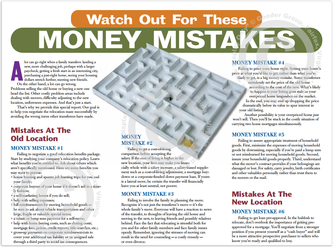 Watch Out For These Money Mistakes Print Real Estate Brochure HomeActions Brochure Preview