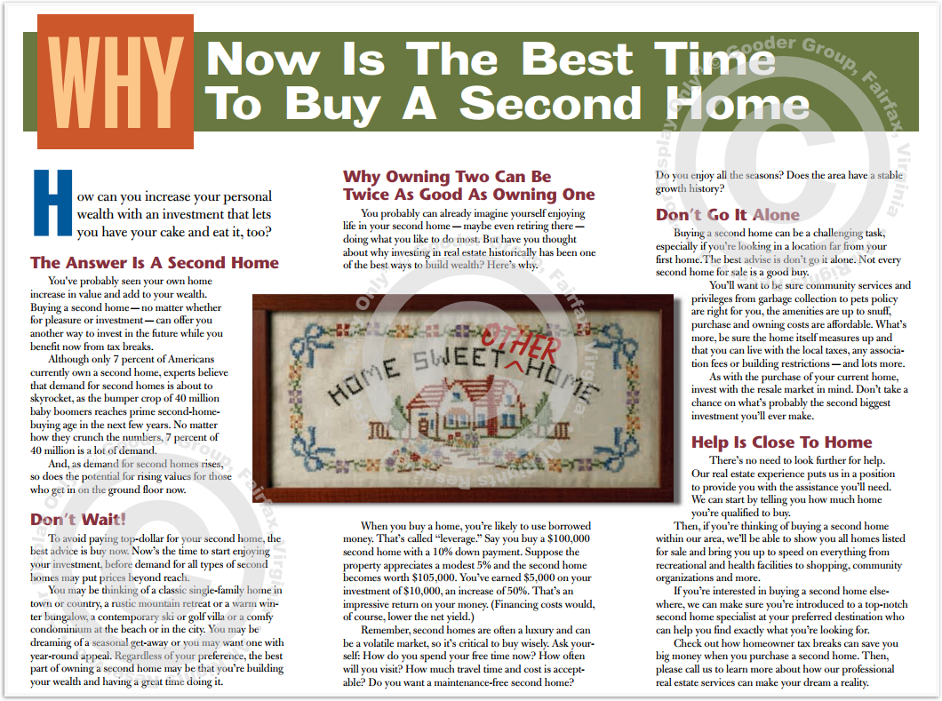 Why Now Is The Best Time To Buy A Second Home Print Real Estate Brochure HomeActions Brochure Preview